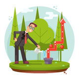 Infographic Growth Cultivate Success Businessman Watering Plant Flat Design Vector illustration. Infographic Growth and Cultivate Success Businessman Watering Stock Photos