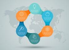 Infographic ha collegato il diagramma con Dots World Map Back Drop Fotografia Stock