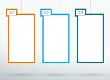 Infographic 3 ha numerato il vettore d'attaccatura delle caselle di testo 3d Immagini Stock