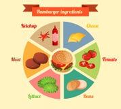 Infographic hamburgareingredienser Arkivfoton
