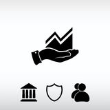 Infographic with hand, chart  icon, vector illustration. Flat de Royalty Free Stock Photos