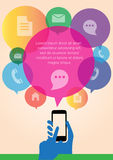 Infographic-Handbewegliche Internet-Technologie, mobiler Touch Screen, infographic Vektor Stockfotografie