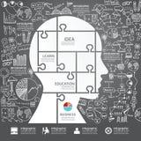 Infographic Head figursågen med klotterlinjen teckningsframgång Royaltyfri Bild