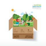 Infographic health care concept. open box with farm. shipping cl vector illustration