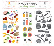 Infographic healthy food. Many kinds of food Vector Illustration