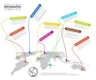 Infographic: Helle Weltkarte mit Zeigerkennzeichen Lizenzfreies Stockfoto