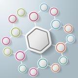 Infographic Hexagon Colorful Rings Benzene. Infographic with big hexagon and colorful rings. Eps 10  file Stock Photo
