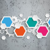 Infographic Hexagon Gears Line Concrete. Infographic design with hexagons on the concrete background Vector Illustration