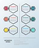 Infographic hexagon malplaatje Stock Foto's