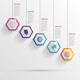 Infographic with hexagons on the grey background. Vector Royalty Free Stock Photos
