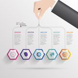 Infographic with hexagons on the grey background. Vector Stock Photos
