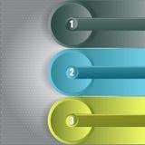 Infographic Hintergrund des abstrakten Vektors mit drei Schritten Stockfoto