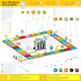 Infographic Hintergrund des flachen Geschäfts mit Finanzbrettspiel-Spielzellen, Würfel, Spiel bessert, Geld, Zeiger, Ikonen aus Stockfotos