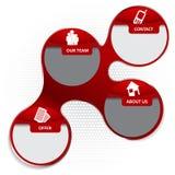 Infographic Hintergrund des roten abstrakten Vektors mit Ikonen für compan Stockbild