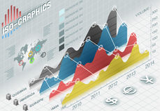 Infographic histograma ustaleni elementy w różnorodnych kolorach Zdjęcie Stock