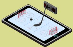 Infographic hockey playground, ball, and tablet. Isometric hockey image. Isolated. In vector Stock Photography