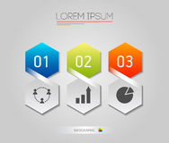 Infographic honeycomb struktury elementy z ikonami ustawiać na popielatym tle Wektorowej grafiki biznesowy nowożytny szablon Zdjęcie Stock