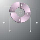 Infographic i formen av en cirkel med numrera i en intressant färg Arkivbilder