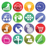 Infographic icons. An array of sixteen infographic icons illustrating a range of subjects from energy to teaching, white background Royalty Free Stock Photography