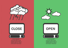 Infographic icons of clouds and computer. Royalty Free Stock Photos