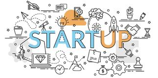 Flat colorful design concept of Start up. Stock Image