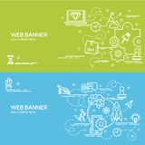 Flat colorful design concept of Start up. Royalty Free Stock Images