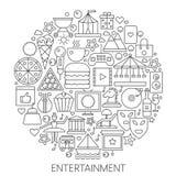 Infographic Ikonen der Unterhaltung im Kreis - Konzeptlinie Vektorillustration für Abdeckung, Emblem, Ausweis Entwurfsikonensatz Lizenzfreies Stockfoto