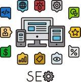 Infographic Ikonen SEO Stockfotos
