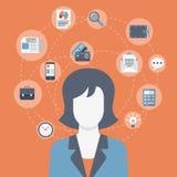 Infographic Ikonencollage der flachen modernen Netzgeschäftsfrau der Art Stockbilder
