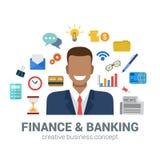 Infographic Ikonenkonzept der Bank-und Finanzwesen, lächelnder Mann, Bank Lizenzfreie Stockfotos