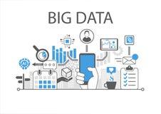 Infographic Illustration der großen Daten mit der Hand, die Smartphone hält lizenzfreie abbildung