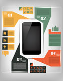 Infographic Illustration der Kommunikation mit Mobile Stockfotos