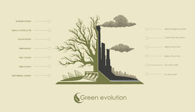 Infographic illustration of environmental pollution. And renewable alternative energy Royalty Free Stock Images