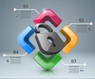 Infographic illustration. Lock icon. Royalty Free Stock Photos