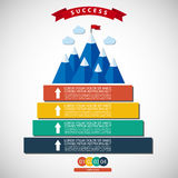 Infographic illustration of success. Infographic vector illustration of success and victory. Winning strategy. Achieving the goal, winning strategy with focus on Stock Image