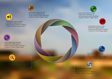 Infographic illustration template with circle divided to eight parts. Illustration infographic template with shape of circle consists of eight parts on Royalty Free Stock Photo