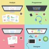 Infographic independiente Trabajo con la computadora portátil Promotor de web, diseñador gráfico, analista y escritor Trabajos in Fotos de archivo