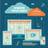 Infographic indica o conceito - esquema do vetor da conexão a Internet ilustração stock