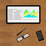 Infographic and infochart economic. Vector analysis profit chart data illustration Stock Photos