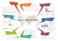 Infographic information page web template design. Infographic information page web template. Graph, pie chart and step diagram with world map, surrounded by text Royalty Free Stock Photo