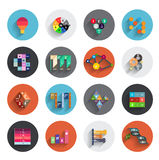 Infographic inside colorful circles. Flat icon set Royalty Free Stock Image