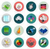 Infographic inside colorful circles. Flat icon set Stock Photo