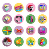 Infographic inside colorful circles. Flat icon set Stock Images