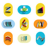 Infographic inside colorful circles. Flat icon set Stock Photography