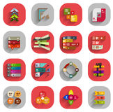 Infographic inside colorful circles. Flat icon set Stock Photos