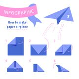 Infographic. Instructions to make paper airplane. Stock Photos