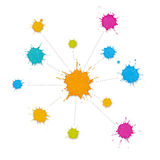 Infographic Interconnected Network of Paint Splashes. Colorful paint splashes linked by dotted lines. Business infographic with blanks to add own symbols and Stock Photos