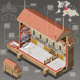 Infographic isométrico de Sistina Chapel del Vaticano Foto de archivo