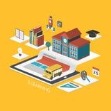 Infographic isométrico del concepto 3d del aprendizaje electrónico stock de ilustración