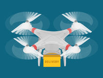Infographic isométrico del web del concepto 3d de la entrega del quadcopter del abejón Imagen de archivo